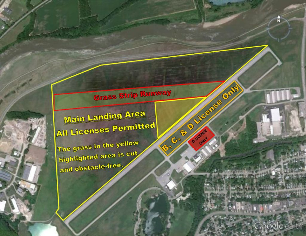landing area map, licensed skydiver